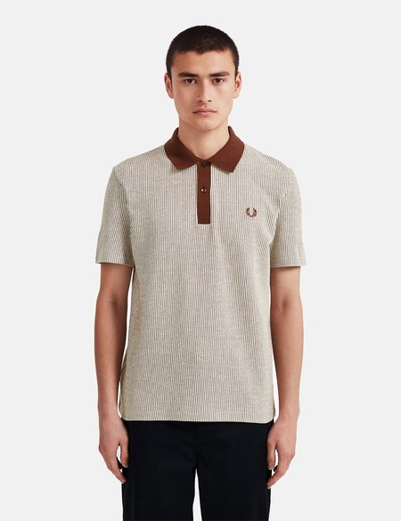 Fred Perry Reissues Vertical Striped Tennis Polo Shirt - Auburn