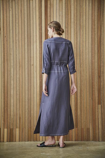 Maison De Ines LINEN DRAWSTRING DRESS - blue