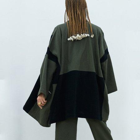Atelier Delphine Patched Boa Haori Coat - Olive/Black