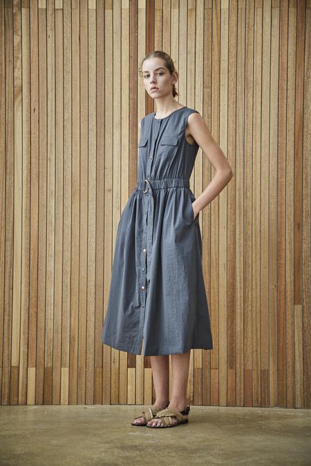 Maison De Ines SLEEVELESS SHIRT DRESS - charcoal