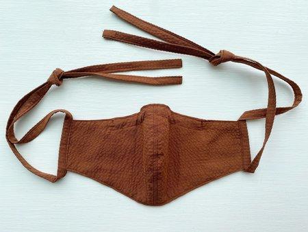 Tony Shirtmakers Japanese Cotton Tonal Seersucker Mask - Burnt Sienna