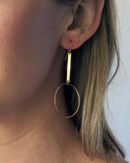 Jennifer Tuton Gold Bar Drop Circle - 14K Goldfill