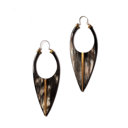 K/LLER COLLECTION Horn Blade Earrings With Telson Inlay Brass