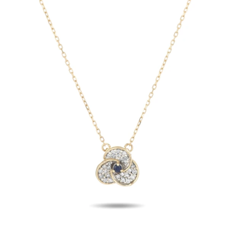 Adina Reyter Tiny Diamond & Sapphire Petals Necklace
