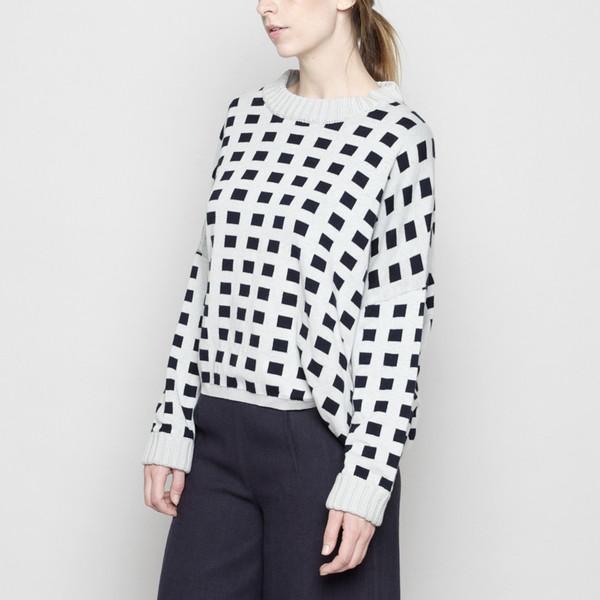 7115 by Szeki Mock-Neck Cotton Plaid Sweater - Mint FW16