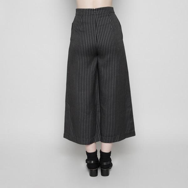 7115 by Szeki Wide-Legged Cropped Trouser- Stripe FW16