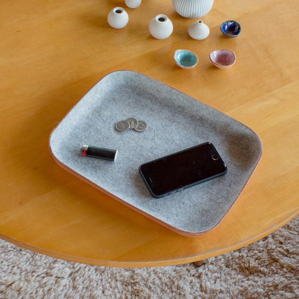 Graf Lantz Kawabon Tray Large Granite Felt / Tan Leather Base