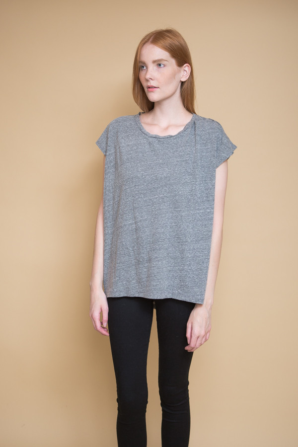 Oak Side Pleat Box Tee / Heather Gray