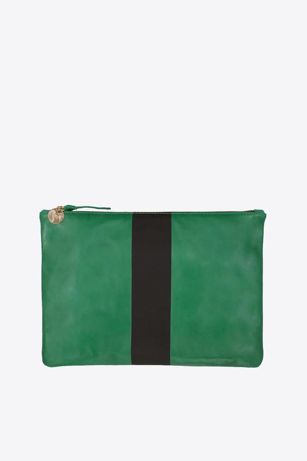 Clare V. Foldover Clutch in emerald nappa with diagonal stripe