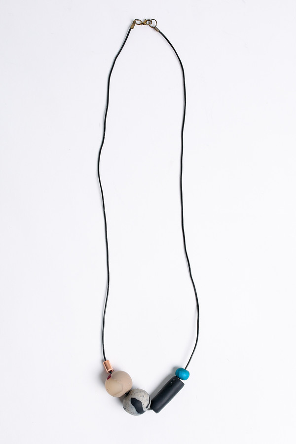 Pepper Train The Everyday Necklace in black/stone/teal
