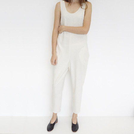 Laurs Kemp Ivory Raw Silk Ulli Jumpsuit