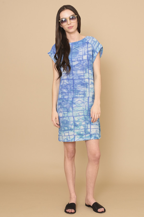 Osei-Duro Deni Raglan Dress in Waterbolt