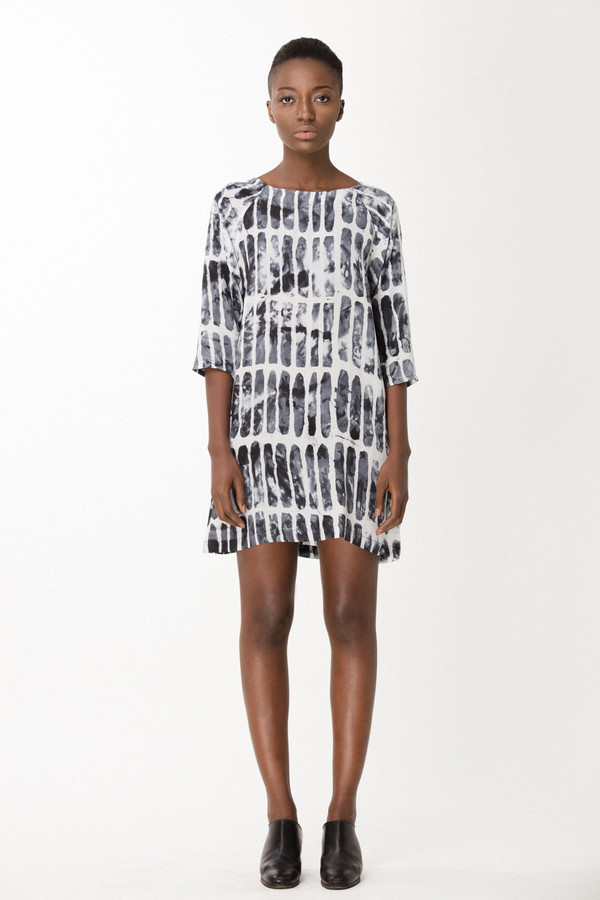 Osei-Duro Linter Dress in Black Chalk