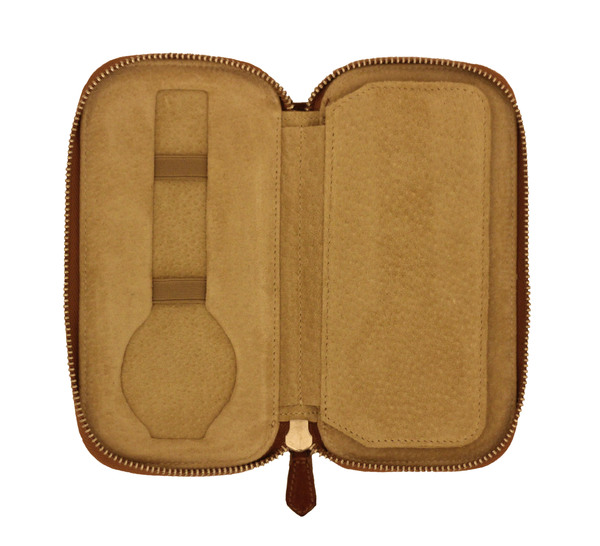 Dual Watch Zip Pouch - Brown