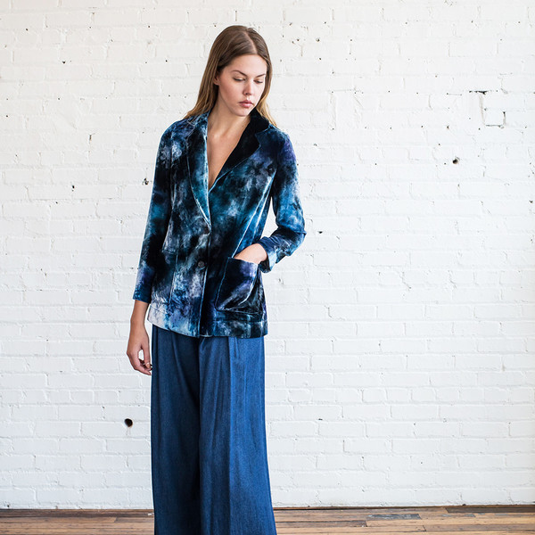 Raquel Allegra Single Breasted Velvet Tie Dye Blazer