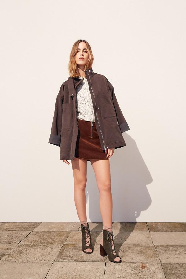 ÁERON Velvet Mini Skirt Brown