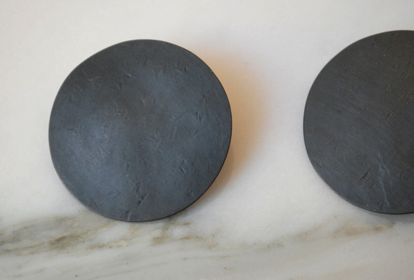 Annie Costello Brown Hammered Disc Earrings - Black or Silver