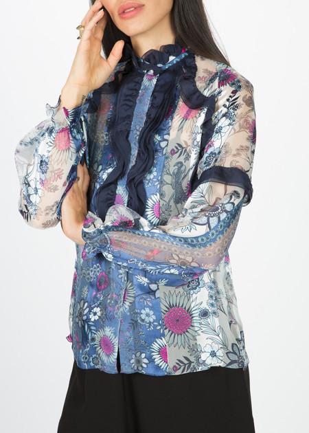Amelia Toro Ruffle Front Silk Blouse