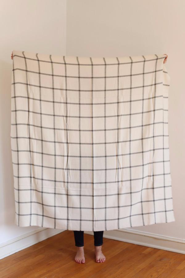 Buji Baja Windowpane Blanket Scarf Ivory