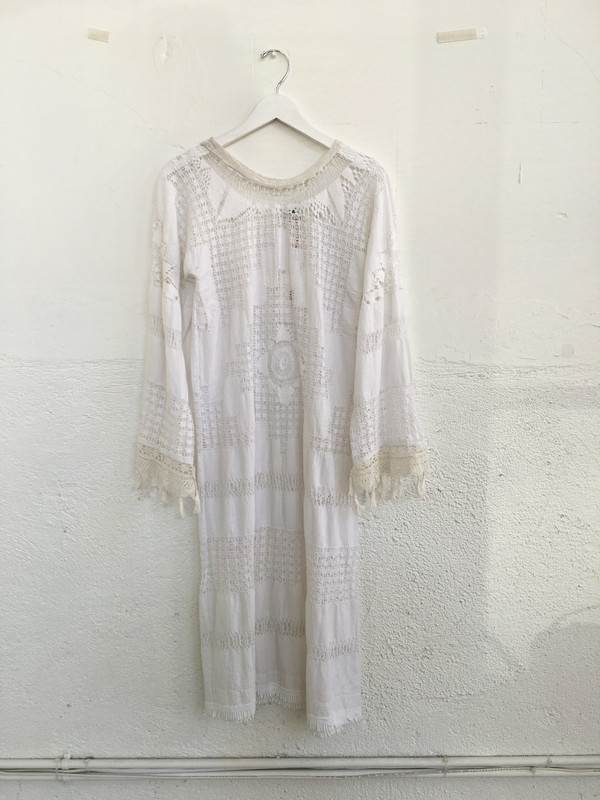 Place Nationale Sleeved Kaftan Lace Maxi Dress