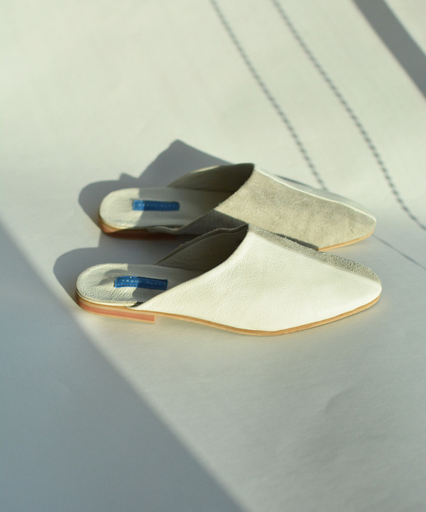 Proud Mary White Moroccan Leather Slide