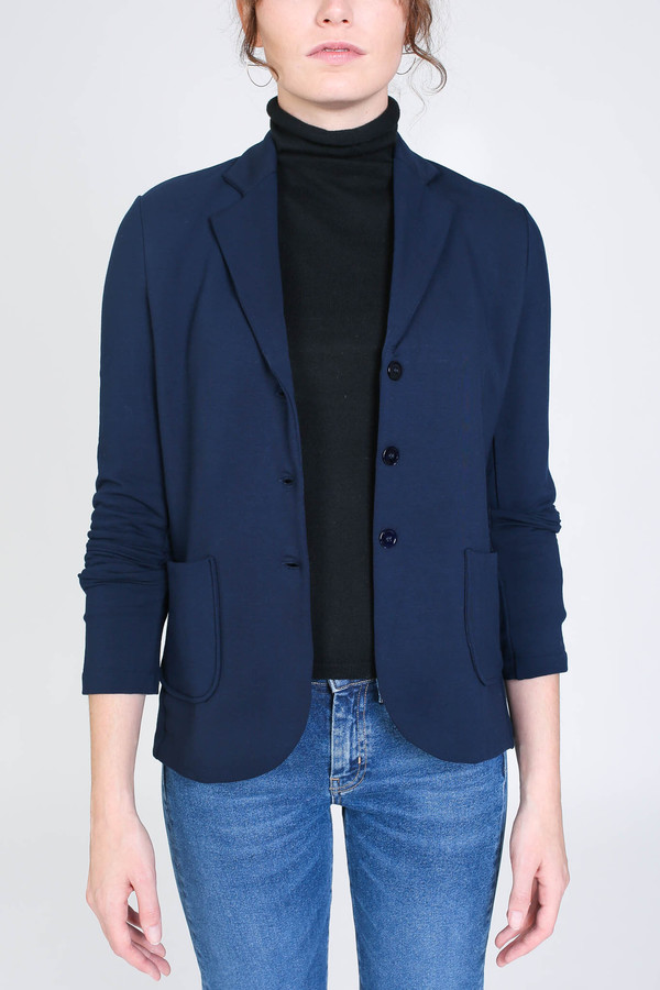 Majestic French terry blazer in marine
