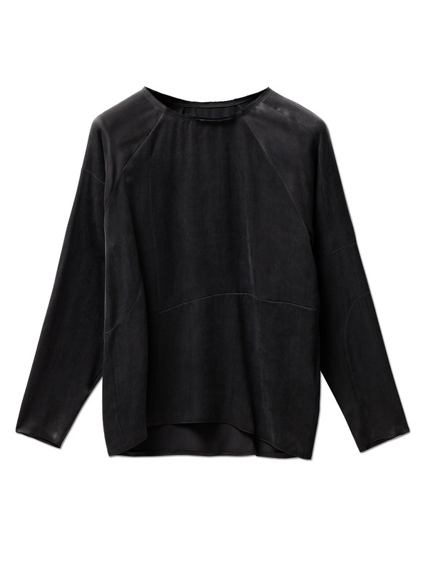 MM6 by Maison Margiela Womens Washed Satin Shirt - Black