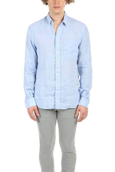 Blue&Cream Linen Button Down Top - Blue
