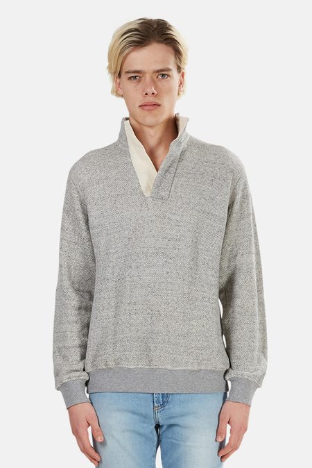 Blue&Cream Pop Collar Pullover Sweater - Heather Grey