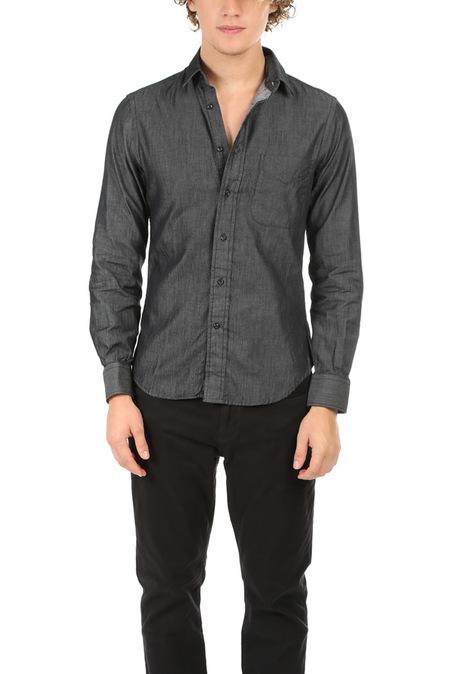 Blue&Cream Chambray Shirt - Charcoal