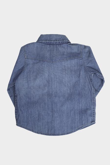 kids Blue&Cream Denim Shirt - Blue