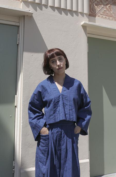 Horses Atelier Cropped V-Neck Pullover in Japanese Indigo