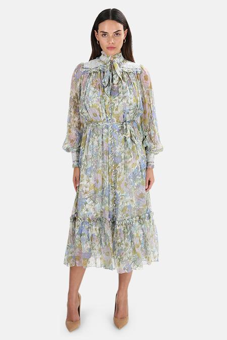 Zimmermann Super Eight Midi Dress - Blue meadow
