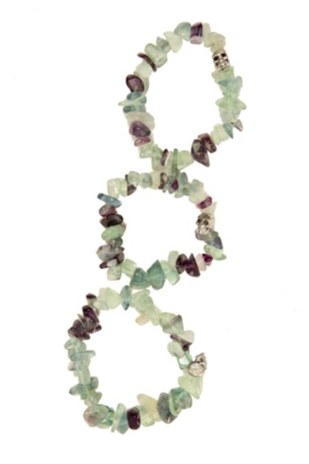 Duchess of Malfi Fluorite Large Stone Skull Bracelet - Green