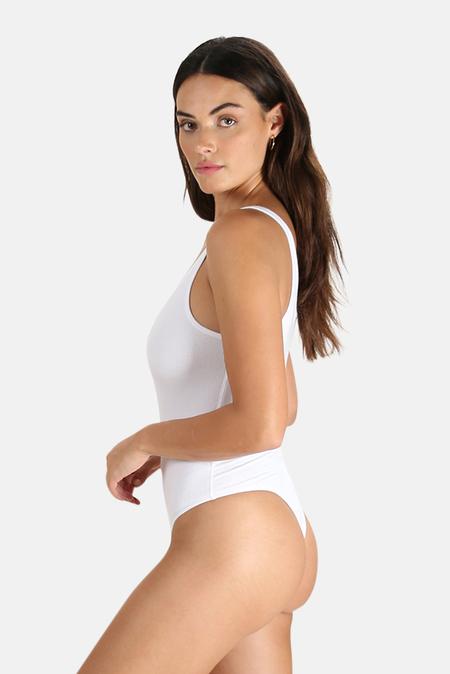 ATM Modal Rib Deep V Tank Bodysuit - White