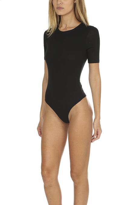 ATM Modal Rib Short Sleeve Bodysuit - Black