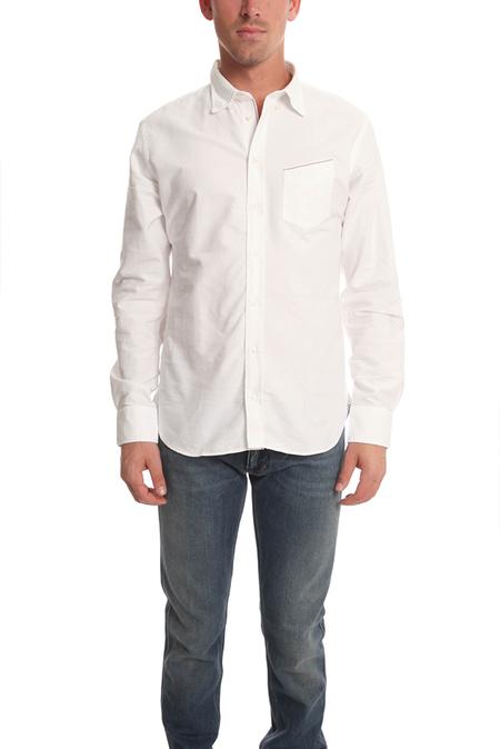 Men's Officine Generale Button Down Oxford Top - White