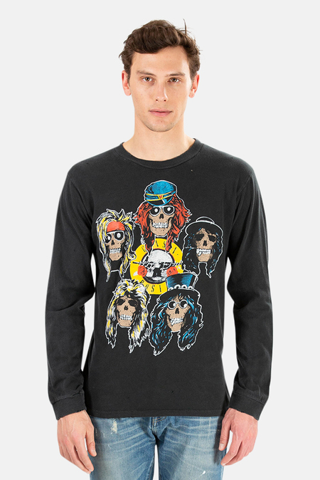 MadeWorn Rock Henleys Guns N' Roses Los Angeles Long Sleeve Top - Coal Pigment