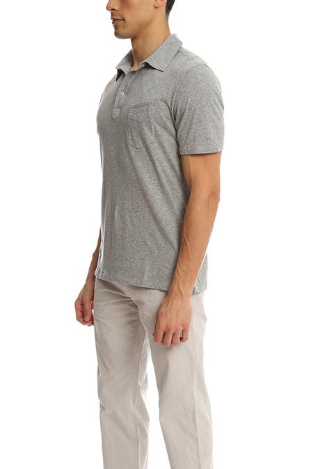 Officine Generale Ultra Light Jersey Polo Top - Grey Heather