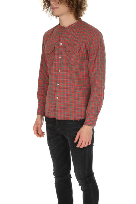 Onestroke Check Stand Collar Shirt - Red