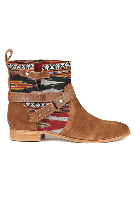 Cynthia Vincent West Ikat Engineer Boot Shoes - Brown/Multi