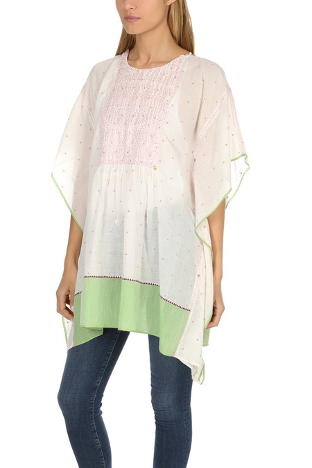 Pero Embroidered Kaftan - White/Green