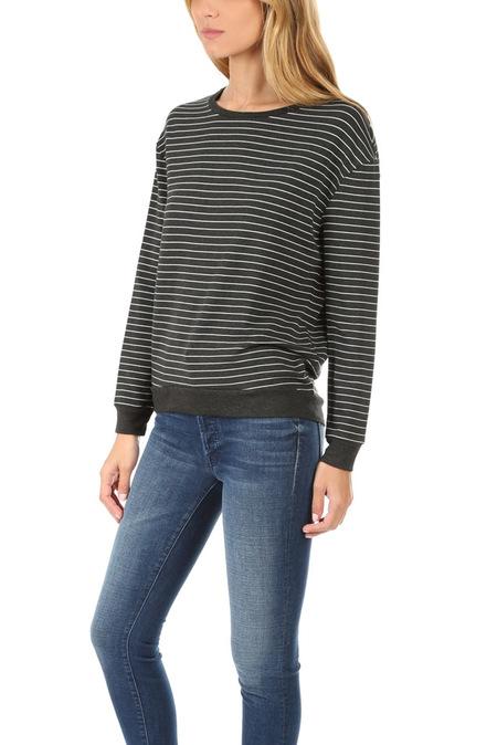 Majestic Filatures Drop Shoulder Pullover Sweater - Anthracite/Milk