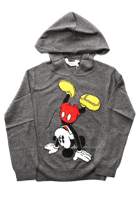 Kids Little Eleven Paris Bickey Jacquard Mickey Hoody Top - Dark Grey