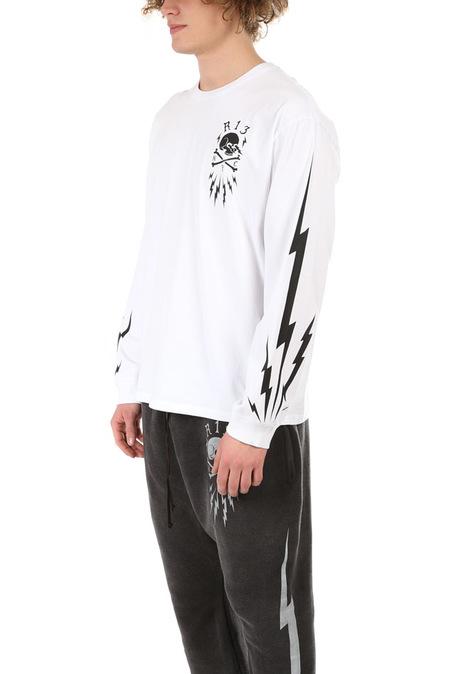 R13 Skull Bolt Long Sleeve Graphic T-Shirt - White