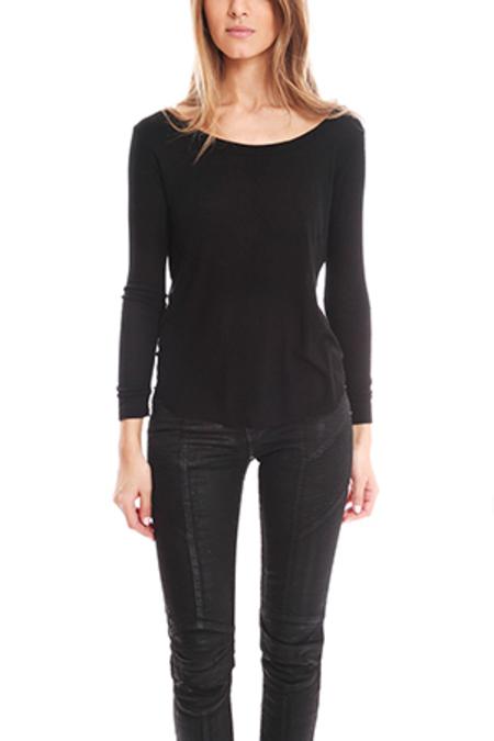 Enza Costa Long Sleeve Baseball Shirt - Black