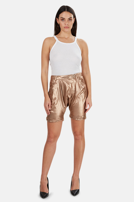 3.1 Phillip Lim Relax Twisted Cuff Harem Shorts - rose Gold