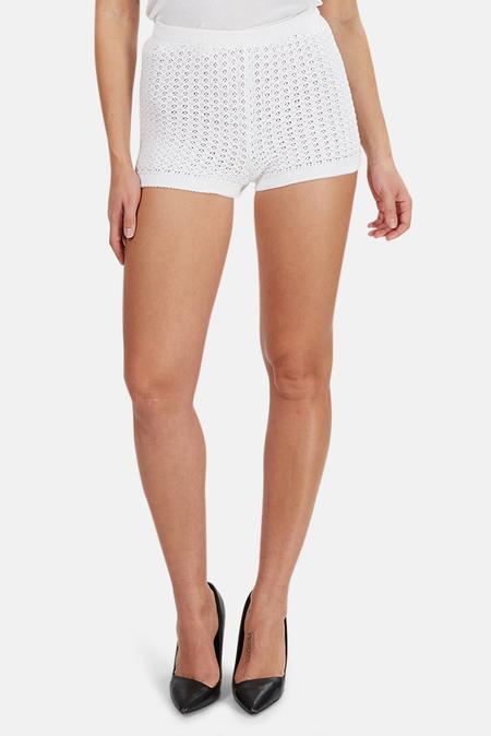 Lucien Pellat-Finet Fine Knit Crochet Shorts - White