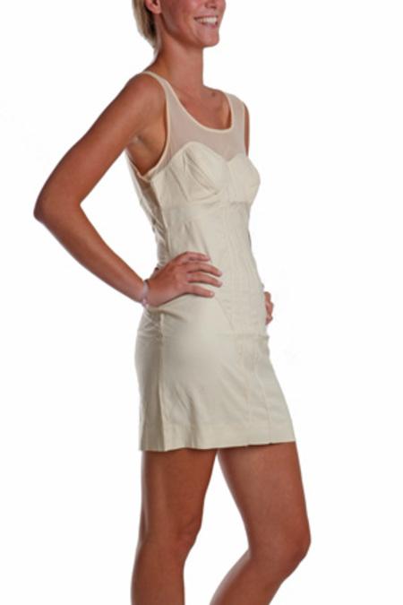 Factory Body Con Panel Dress - cream