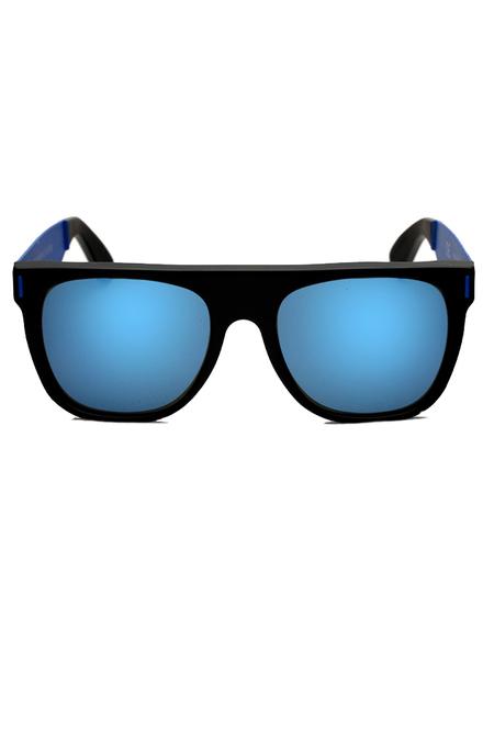 RETROSUPERFUTURE Flat Top Francis Squadra Sunglasses - Matte Black/Blue